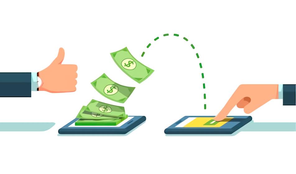 Ilustração com notas verdes de dinheiro passando de um celular para outro