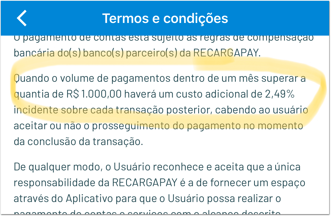 RecargaPay_Termos Silenciosamente, RecargaPay muda de novo suas regras para pagamento de boleto