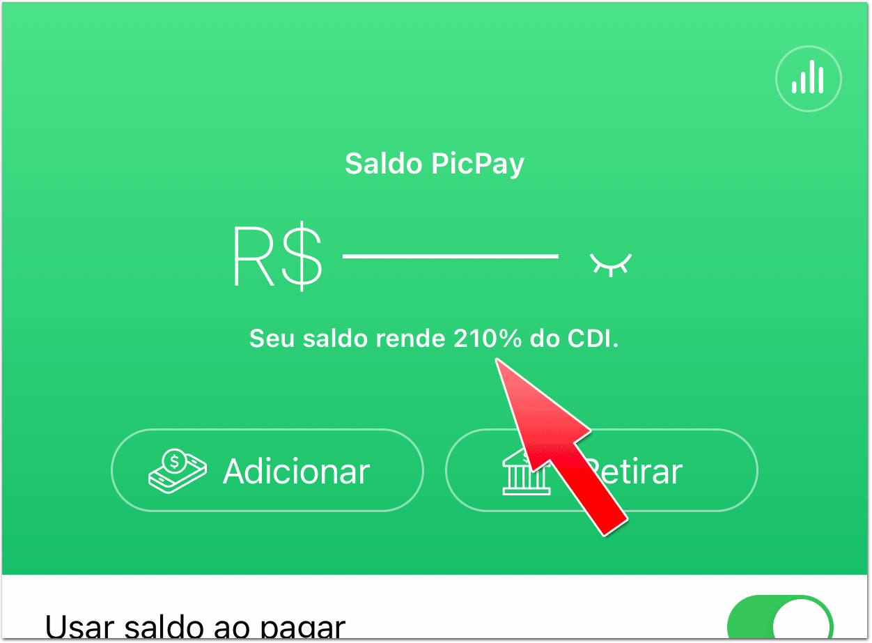PicPaysaldo Dinheiro parado no PicPay agora rende 210% do CDI