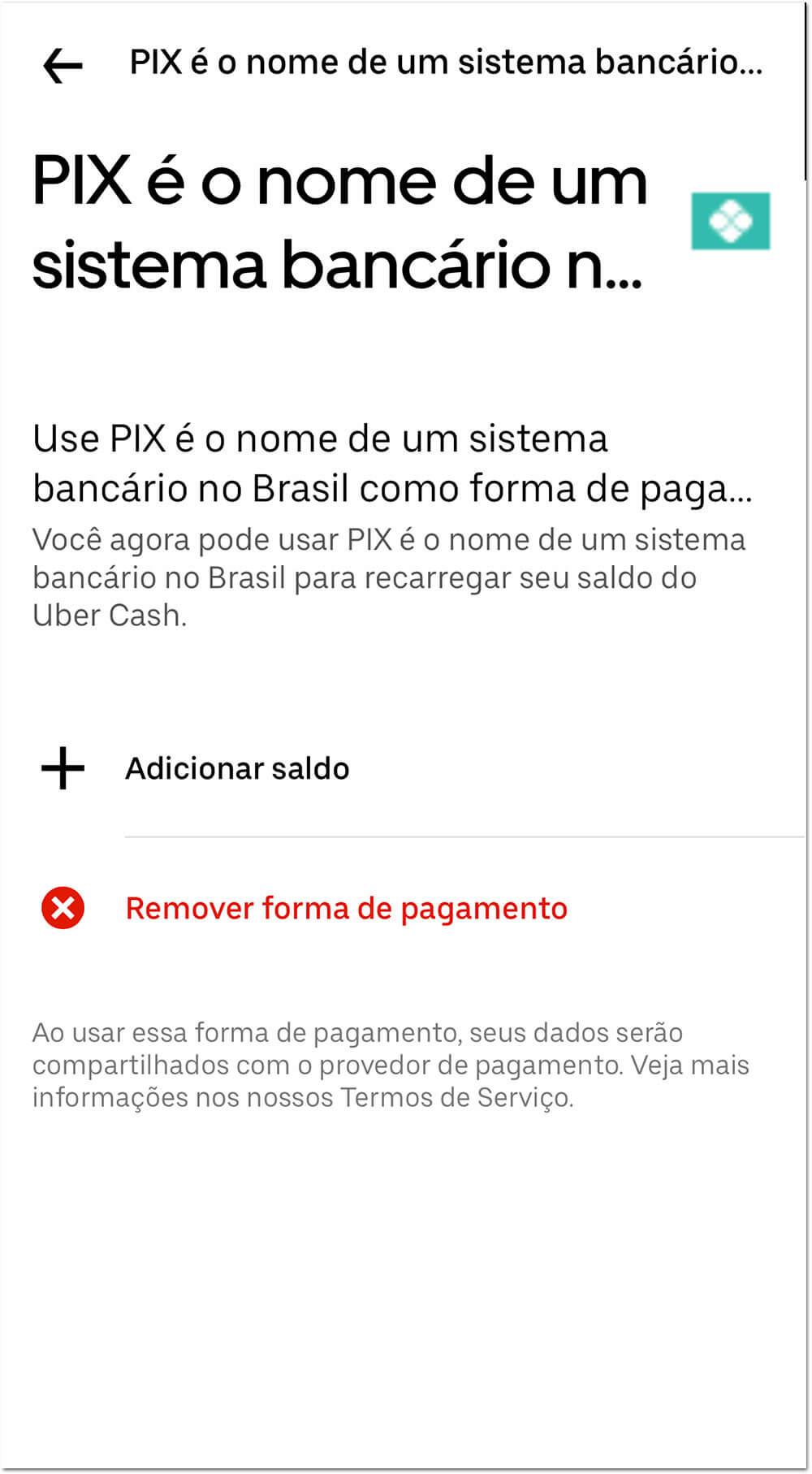 uberpix2 Como pagar o UBER com o Pix