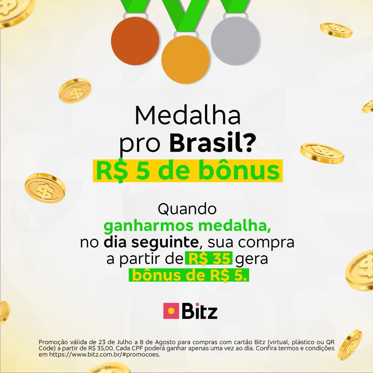 IMG-Olimp [ALERTA CASHBACK] Bitz dará R$ 5 de bônus nos dias que o Brasil ganhar medalhas em Tóquio